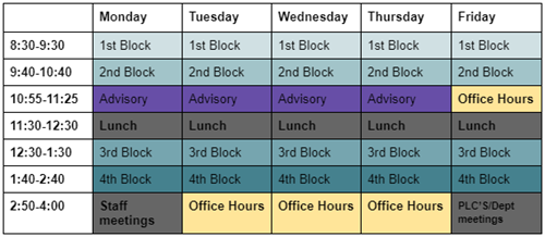 This is LEC's virtual schedule for the first 6 weeks.