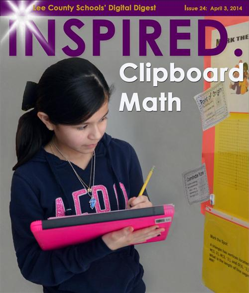 A student works on clipboard math.