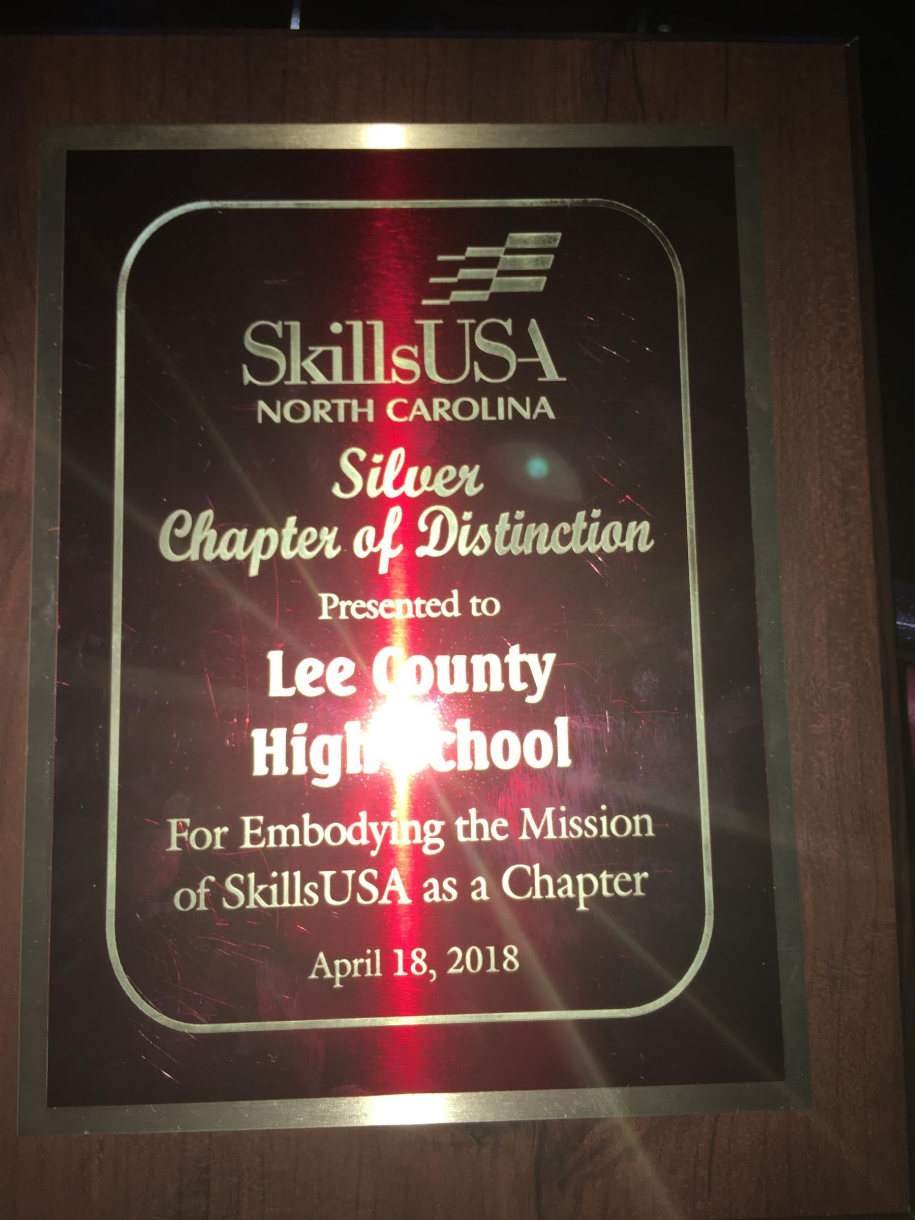 LCHS Skills Silver Chapter of Distinction Award