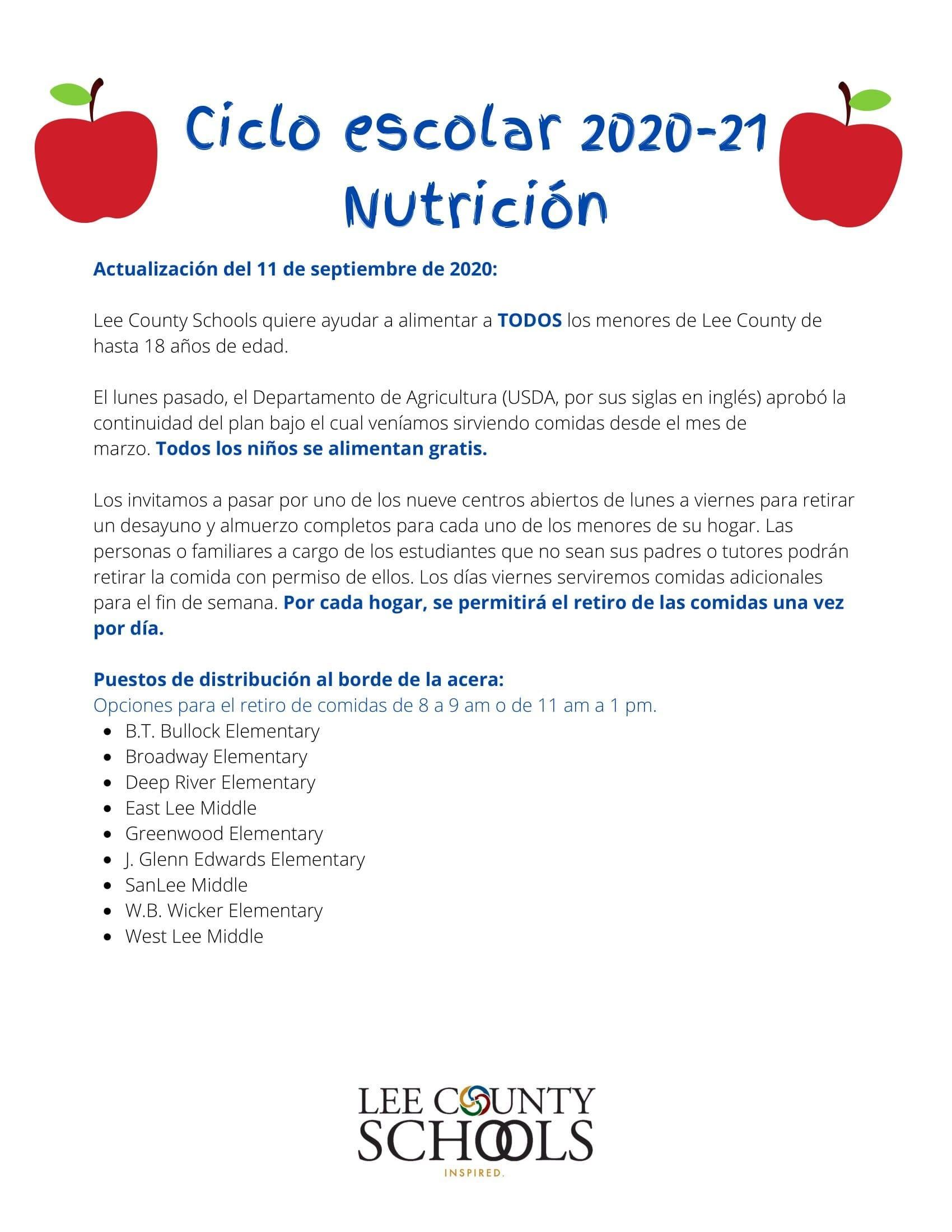 2020-21 School Year Nutrition Update on September 11, 2020 in Spanish.