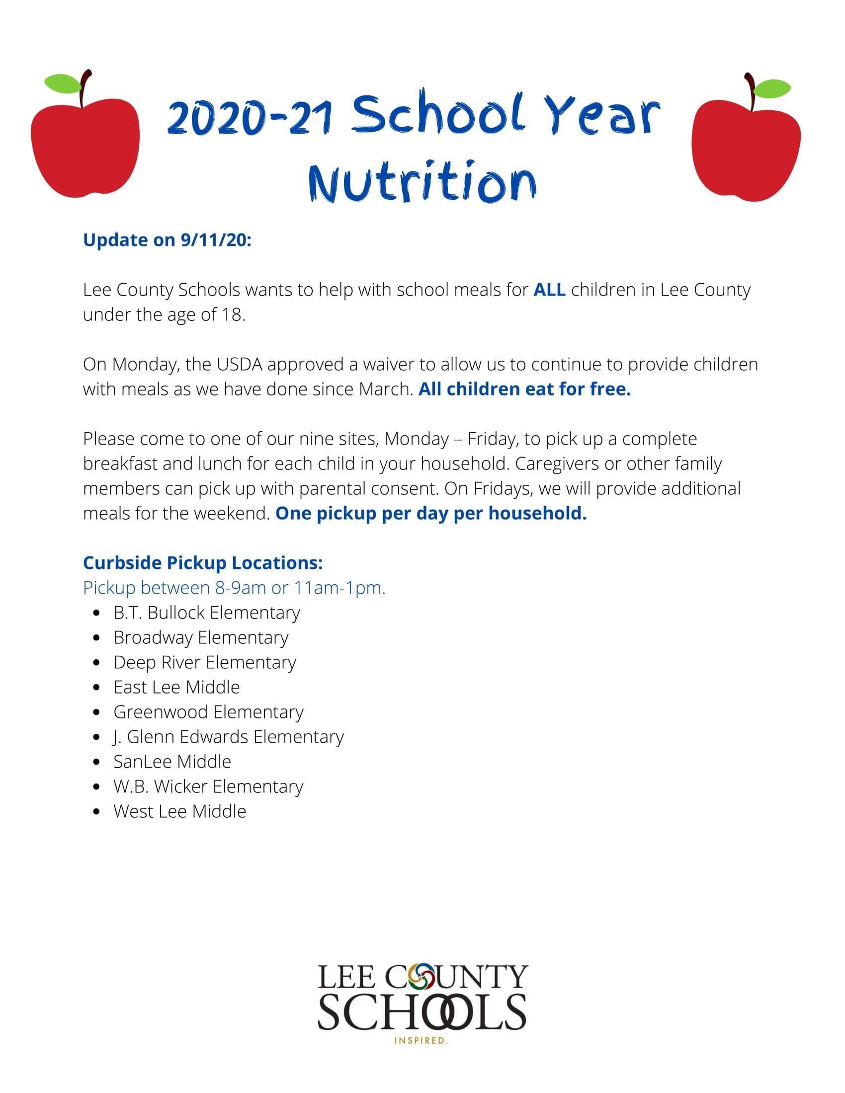 2020-21 School Year Nutrition Update on September 11, 2020.