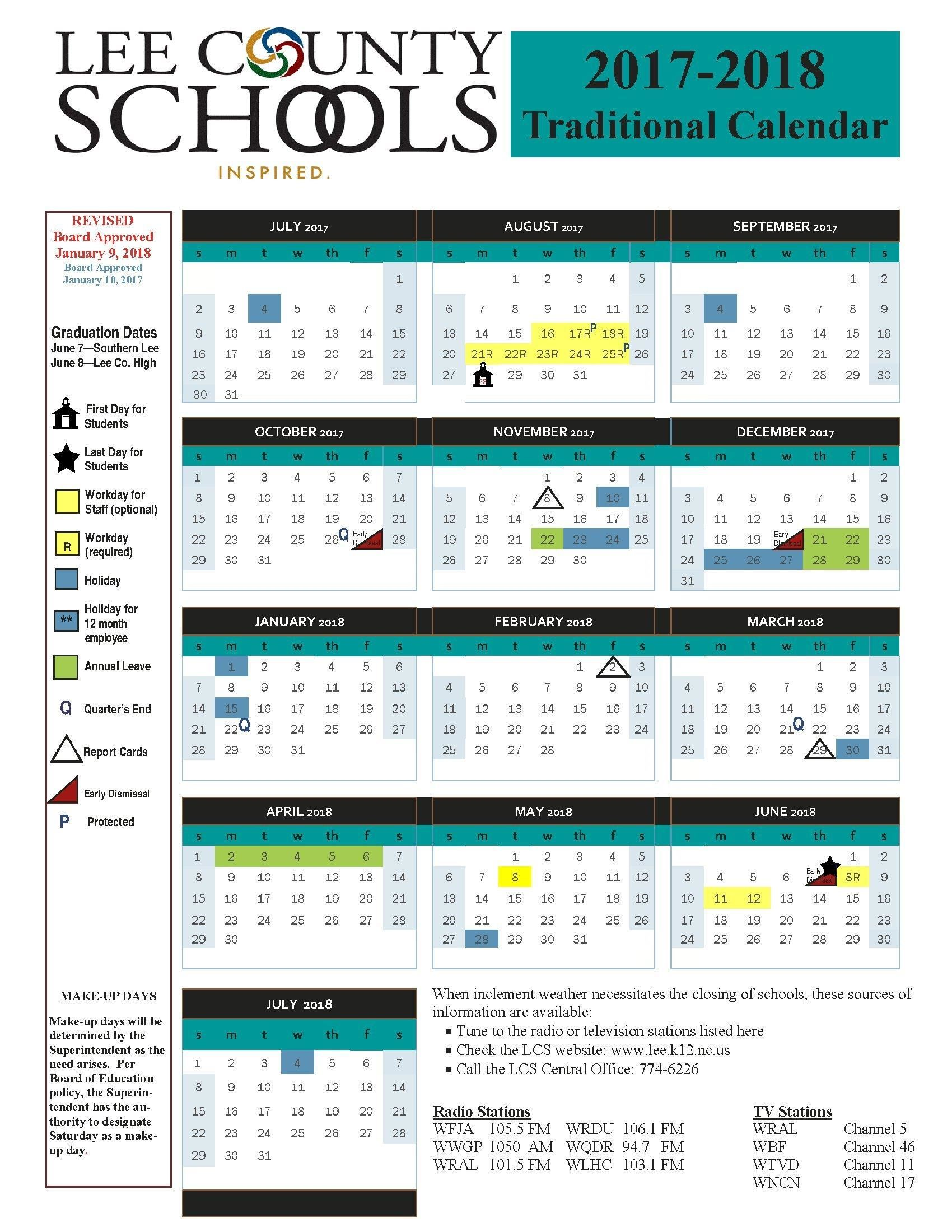 Revised Calendar Changes for 2017-2018 School Year