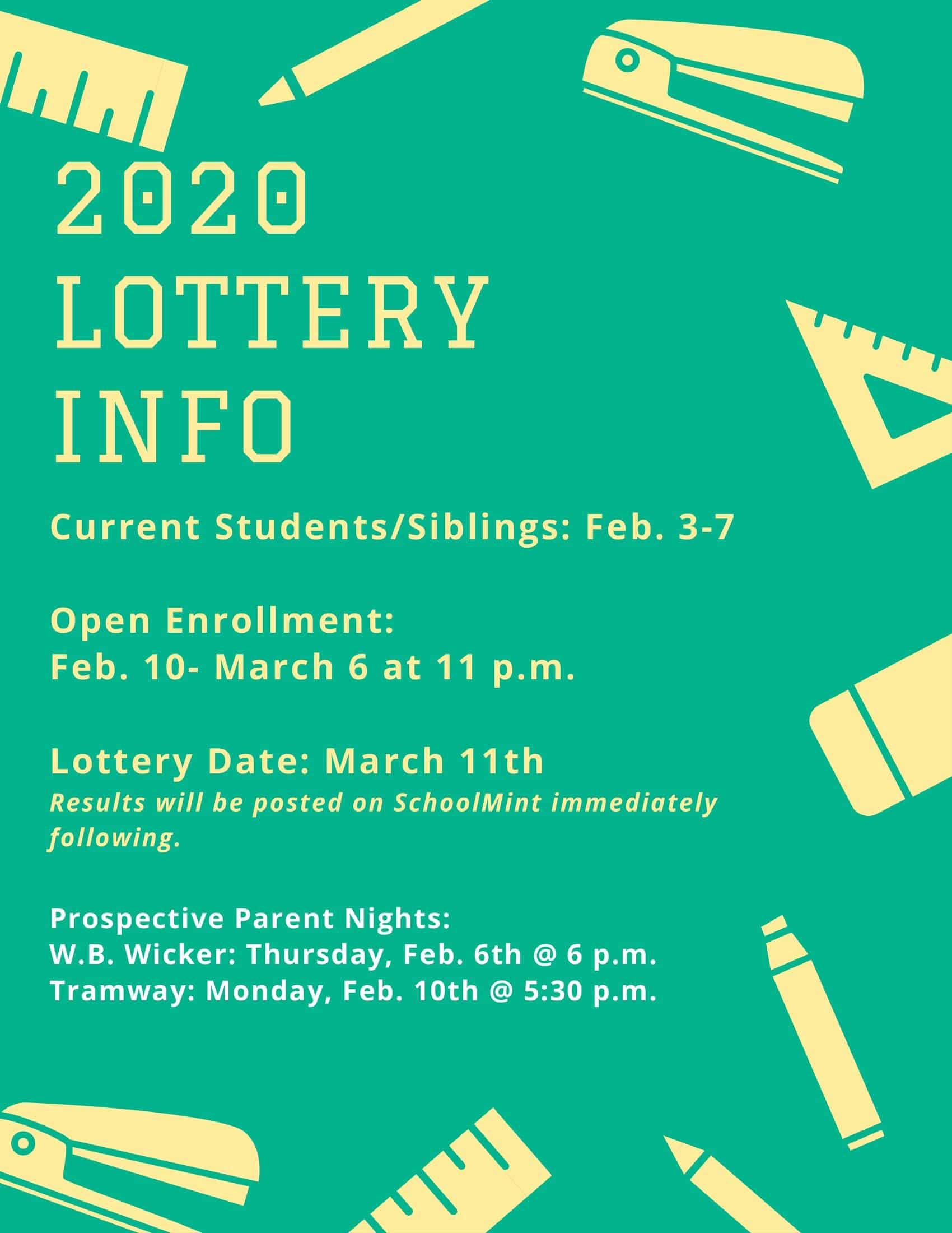 TRAMWAY AND W.B. WICKER LOTTERY INFORMATION