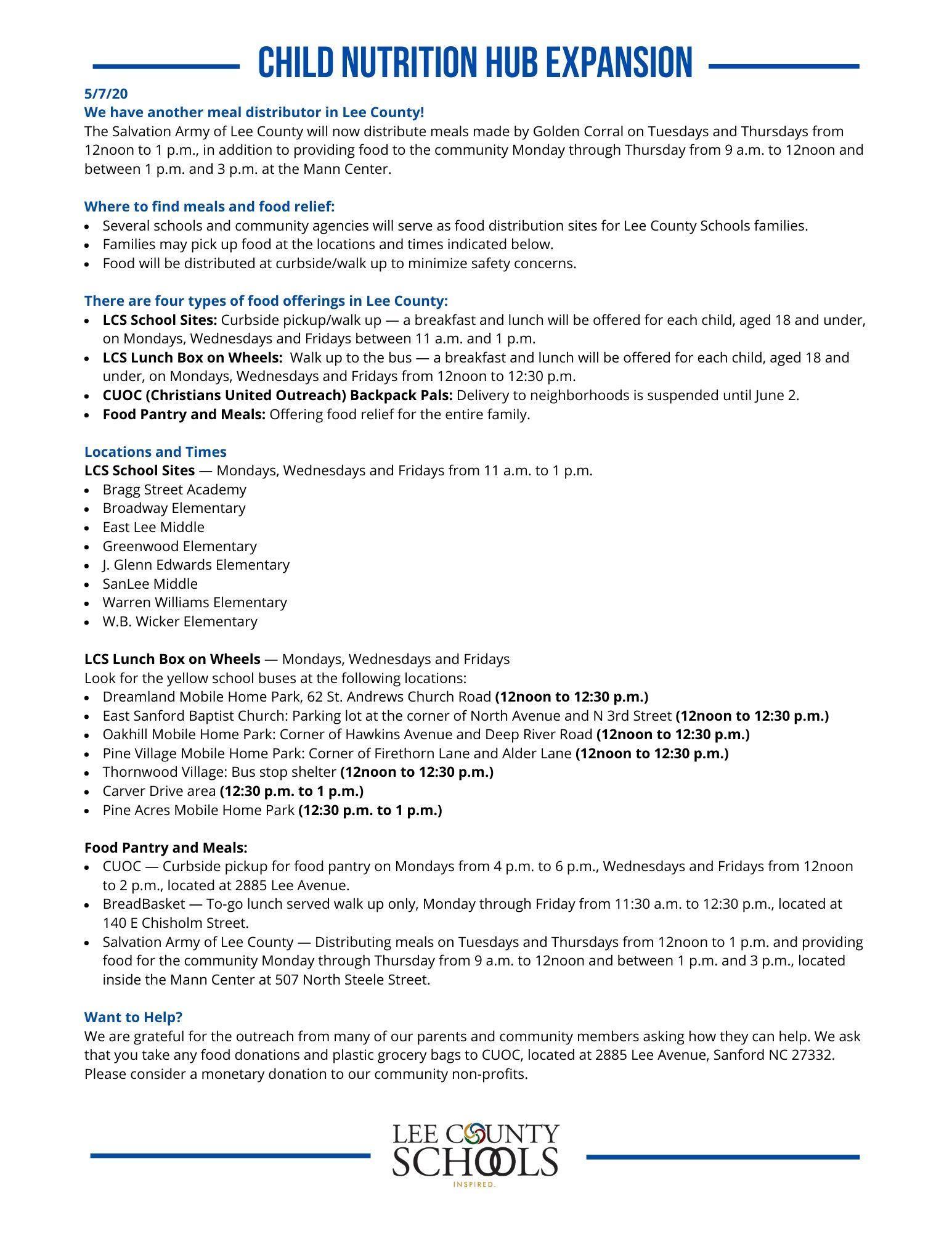 Child Nutrition Hub Information