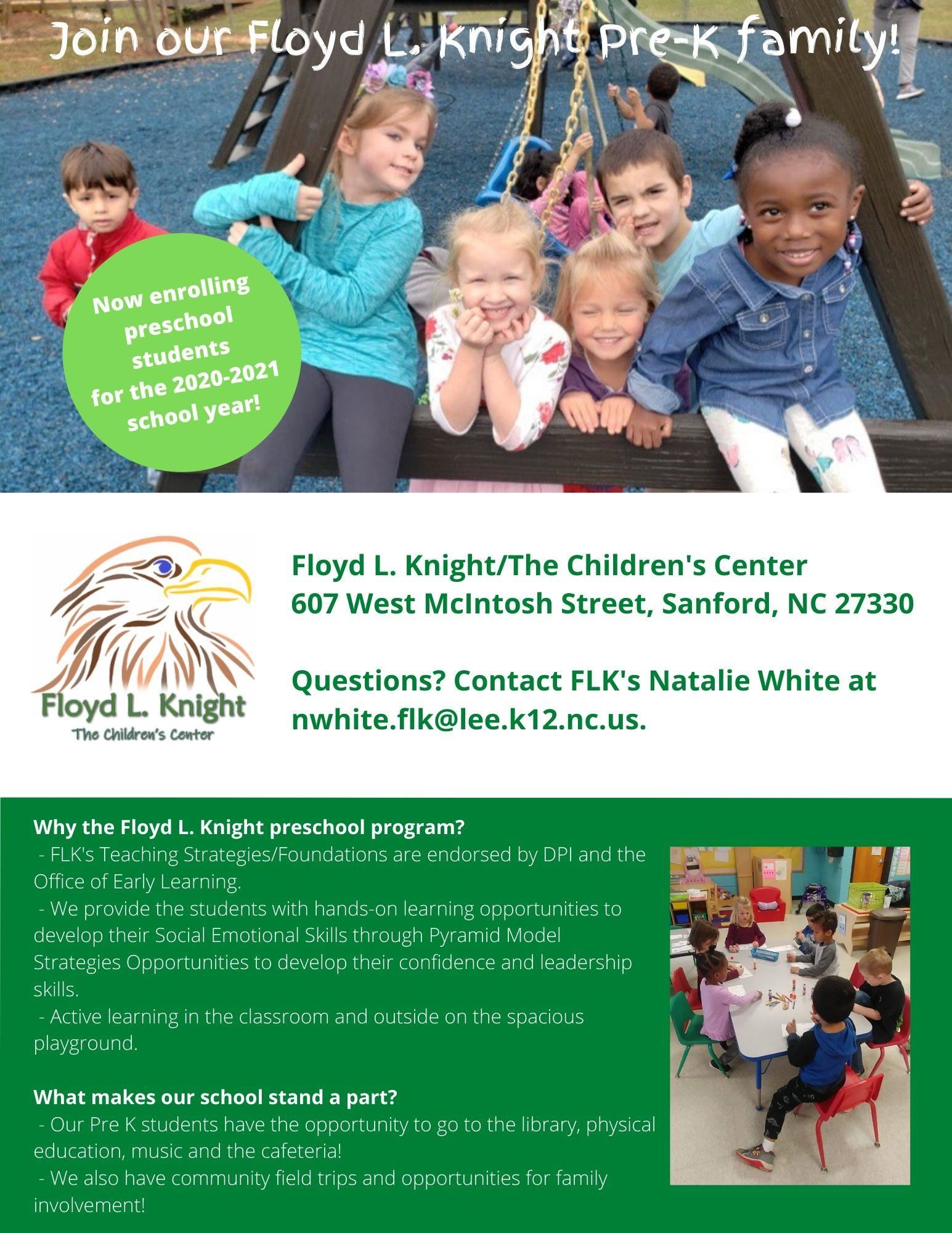 Floyd L. Knight/The Children's Center 2020/21 Preschool Openings