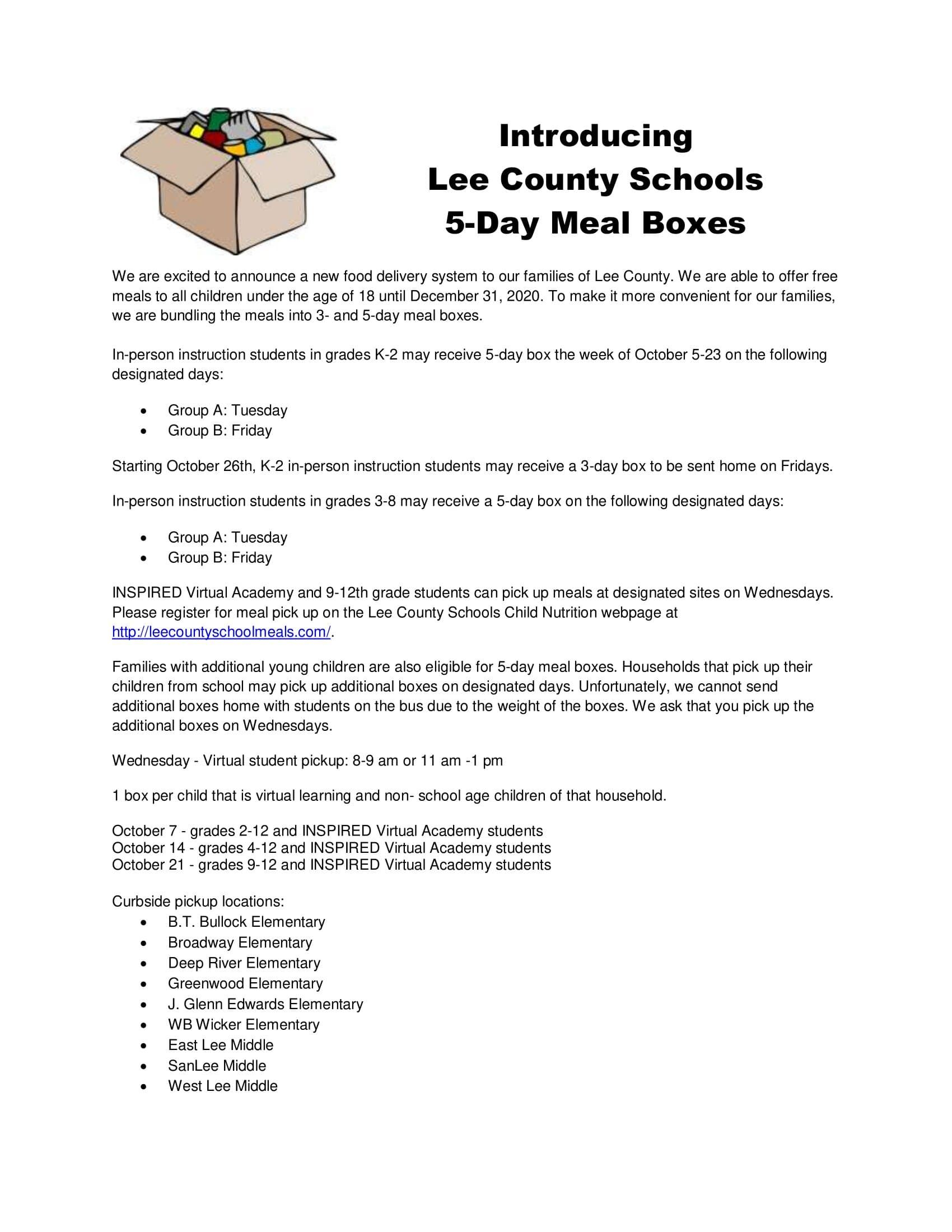 Lee County Schools now offering 5-day meal boxes
