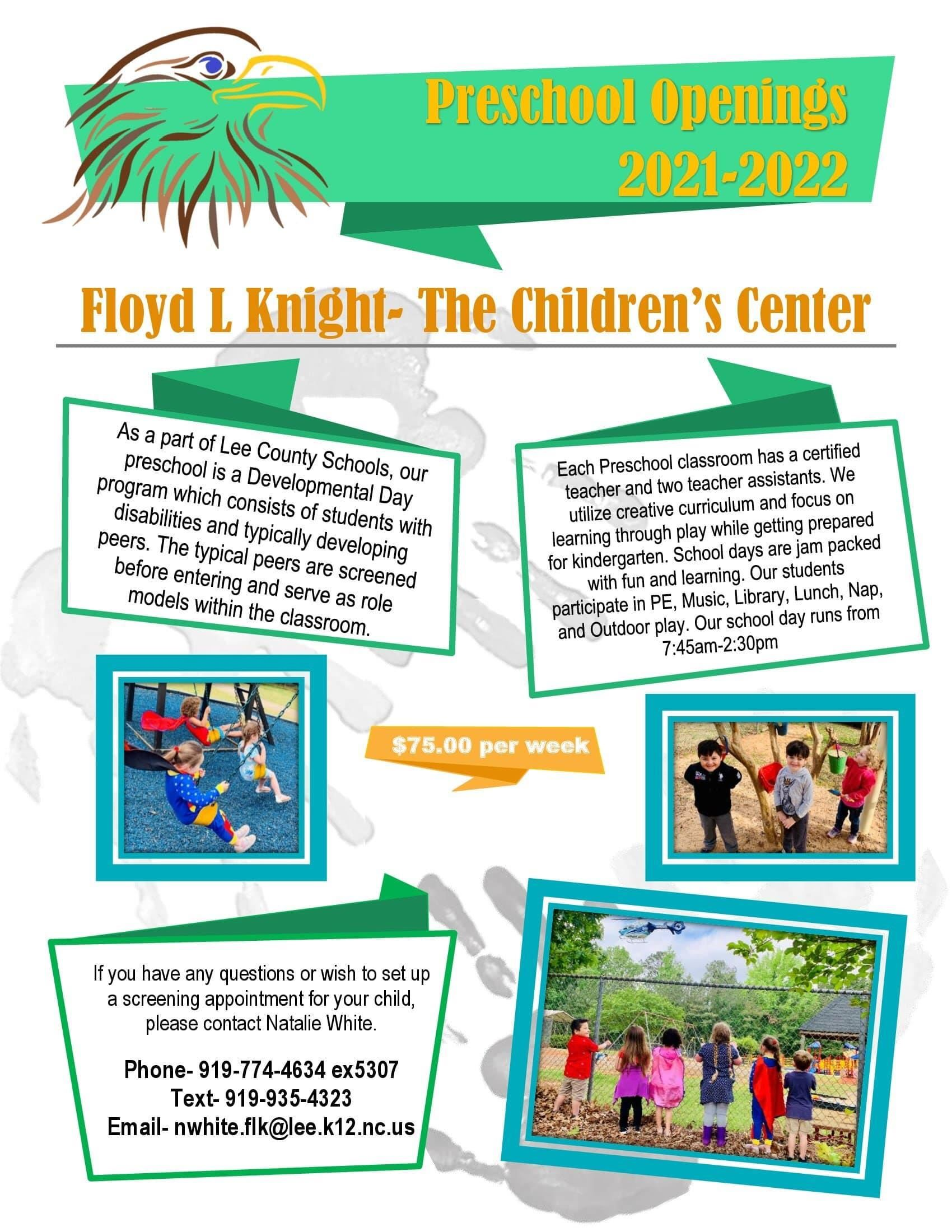 Floyd L. Knight Preschool Openings for the 2021-2022 School Year