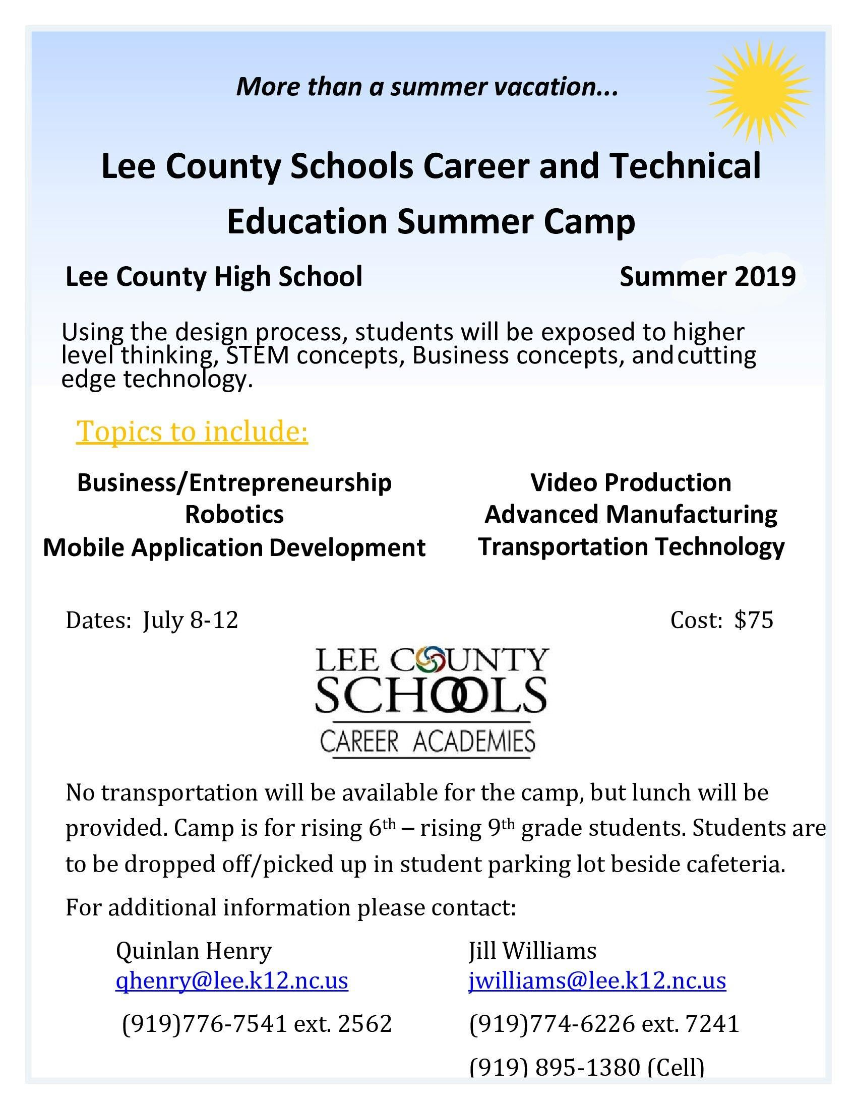 Lee County Schools Career and Technical Education Summer Camp