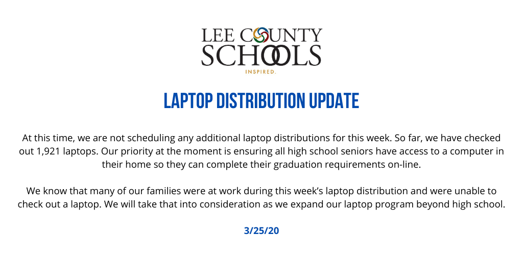 Laptop Distribution Update