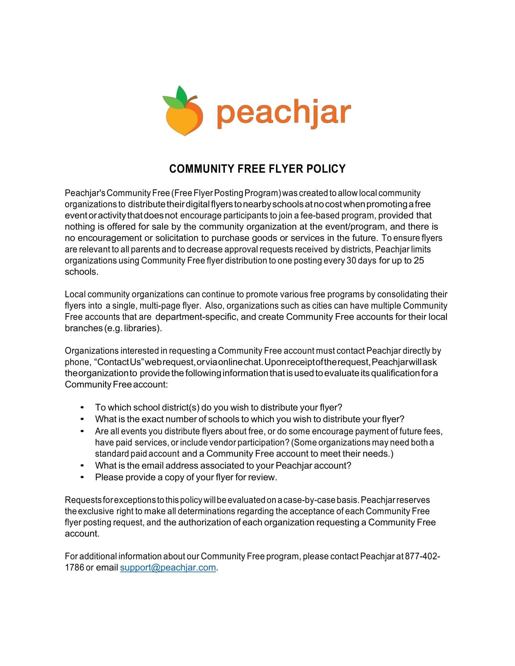 Community Free Flyer Policy