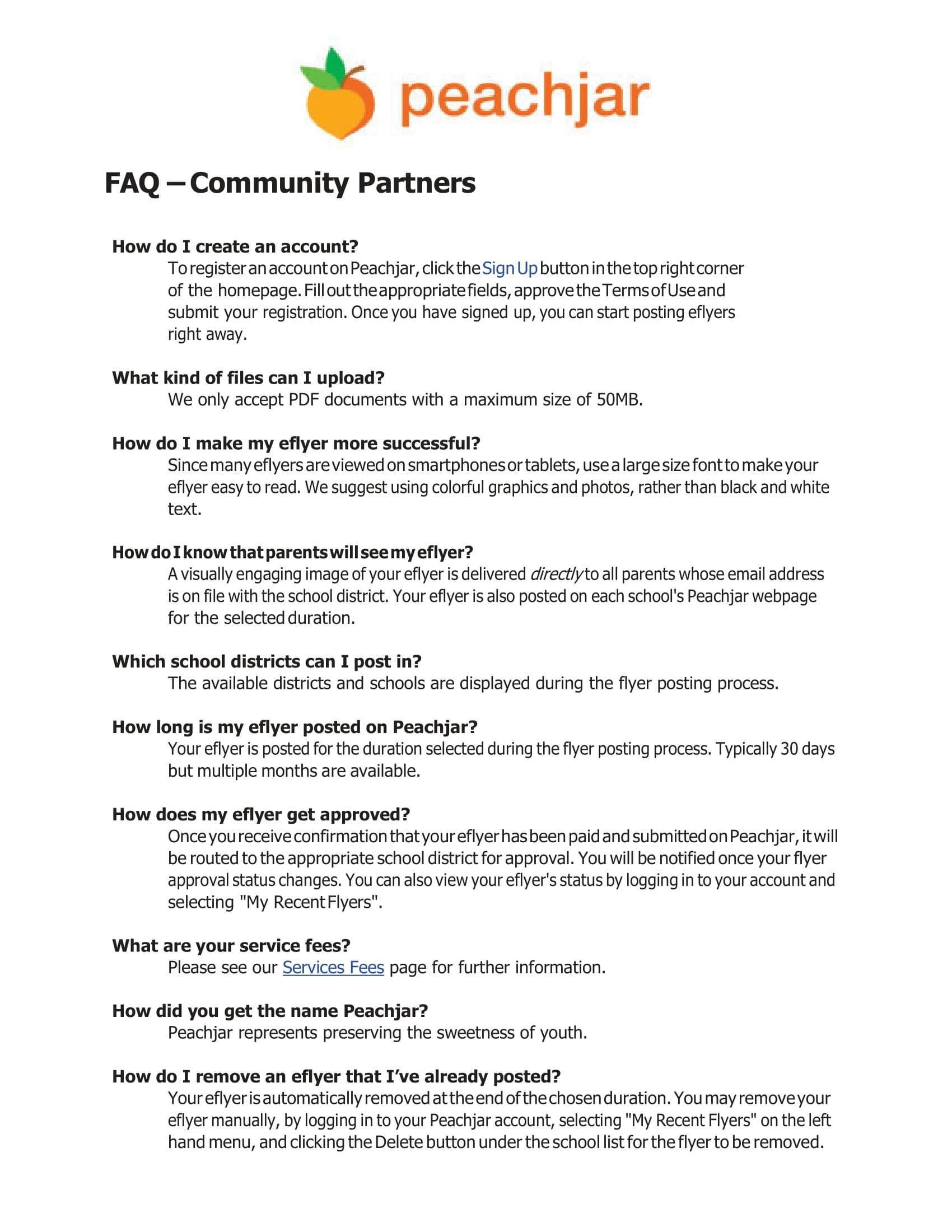 Peachjar FAQs for Community Partners - Part 1